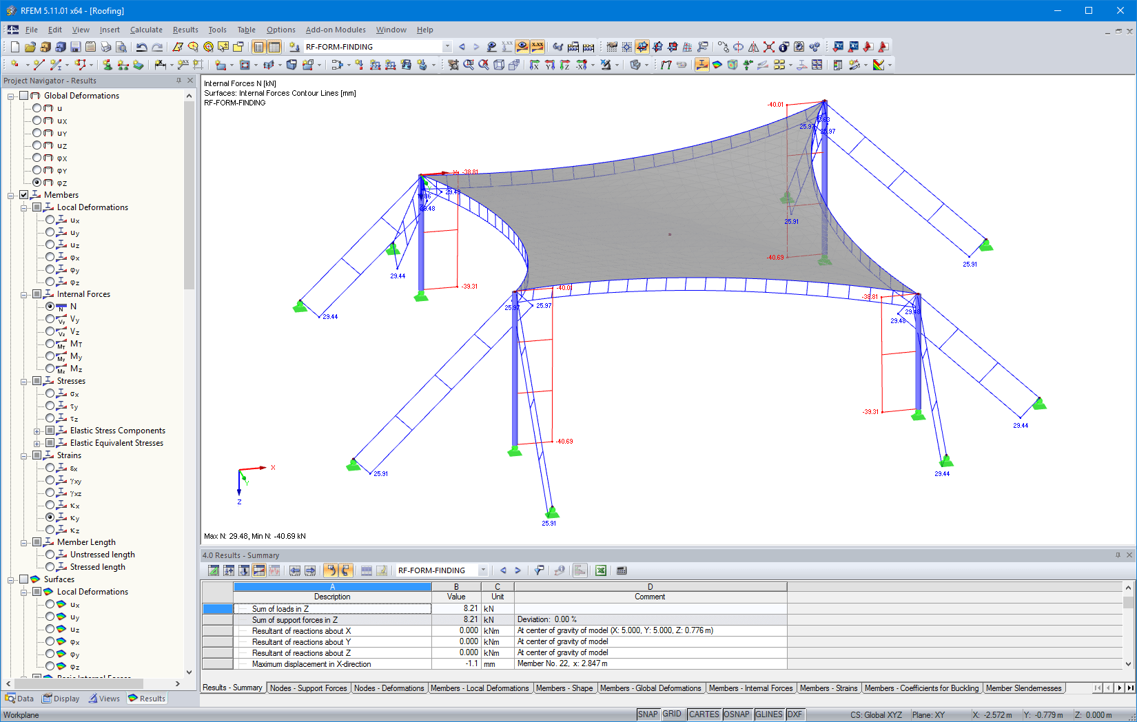 Cable tensions after form-finding in RFEM