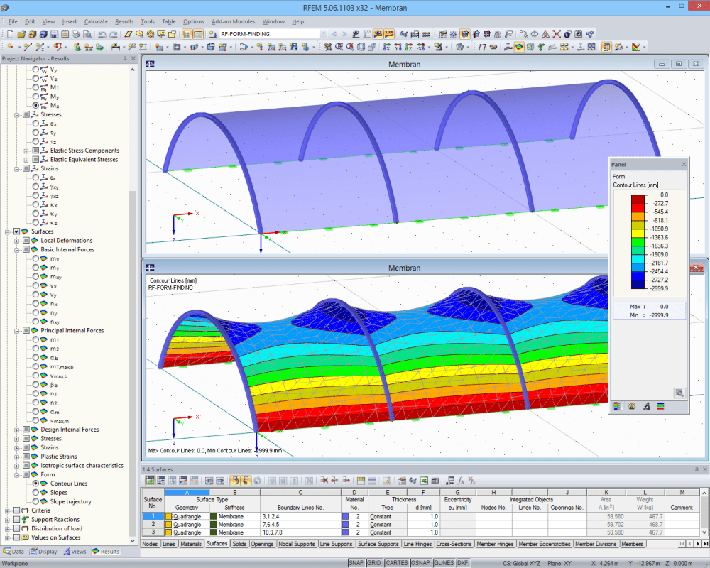 Membrane structure before and after form-finding in RFEM