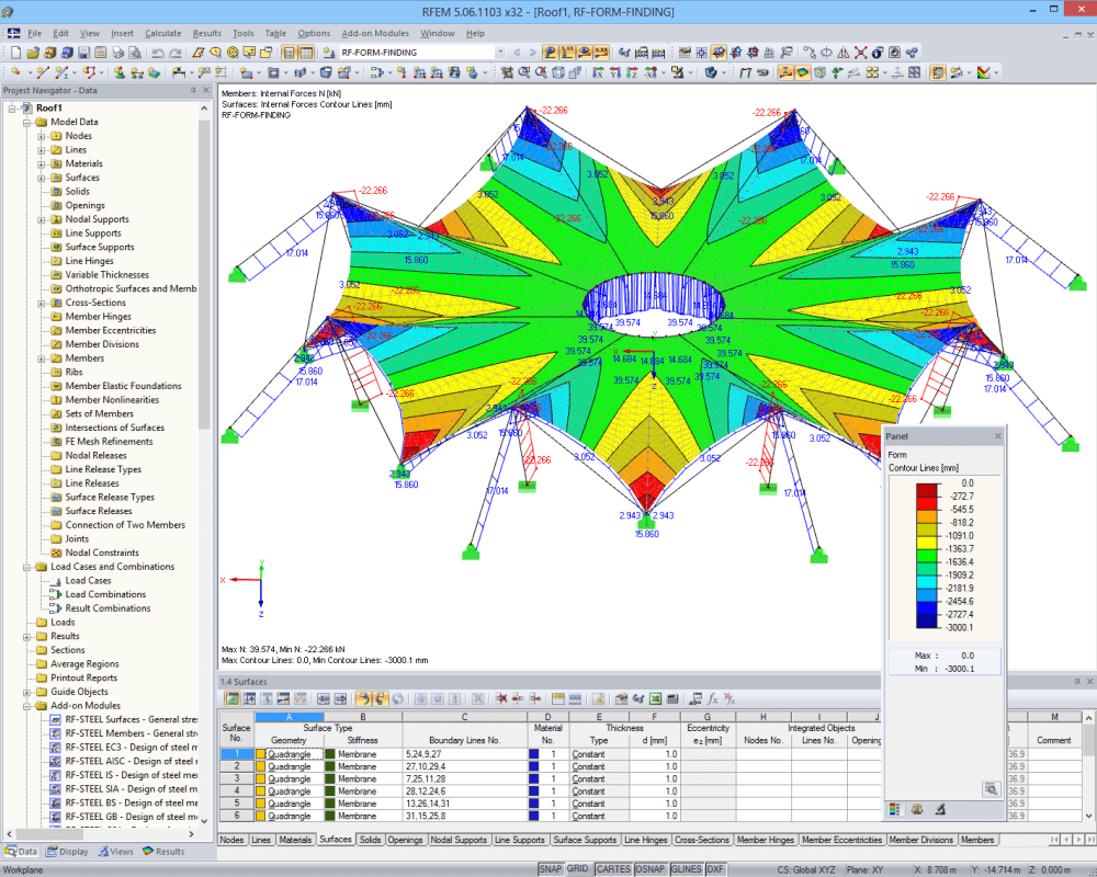 Tension forces in cables and contour lines after form-finding in RFEM