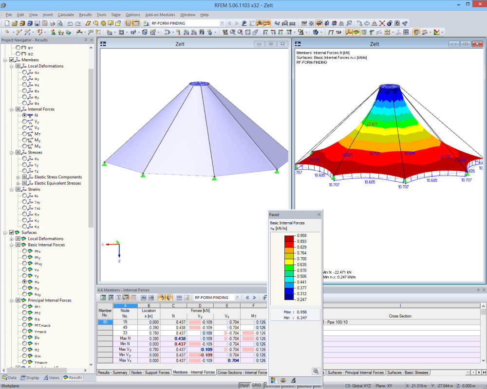 Tent structure before and after form-finding in RFEM