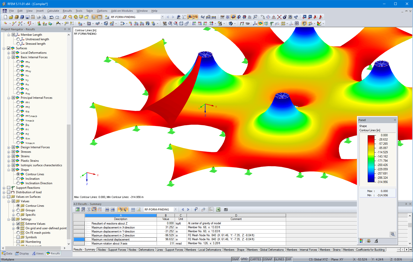 Group of tents | Representation of contour lines in RFEM