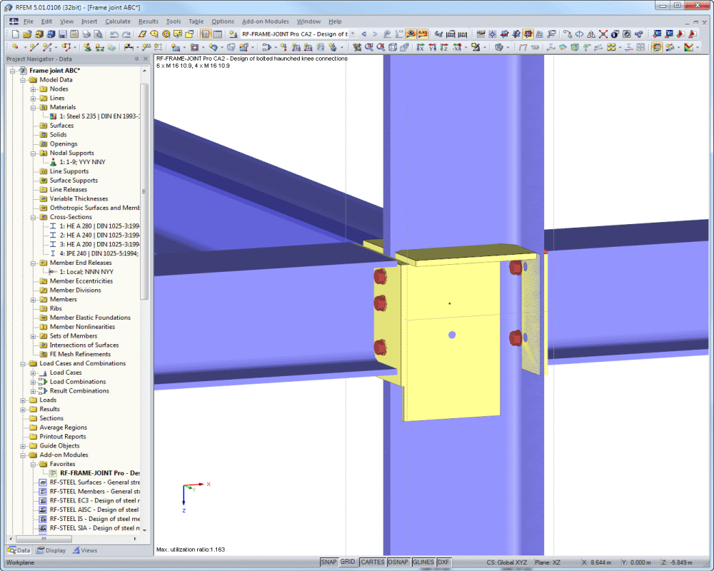 RF-FRAME-JOINT Pro: Connection graphics in RFEM