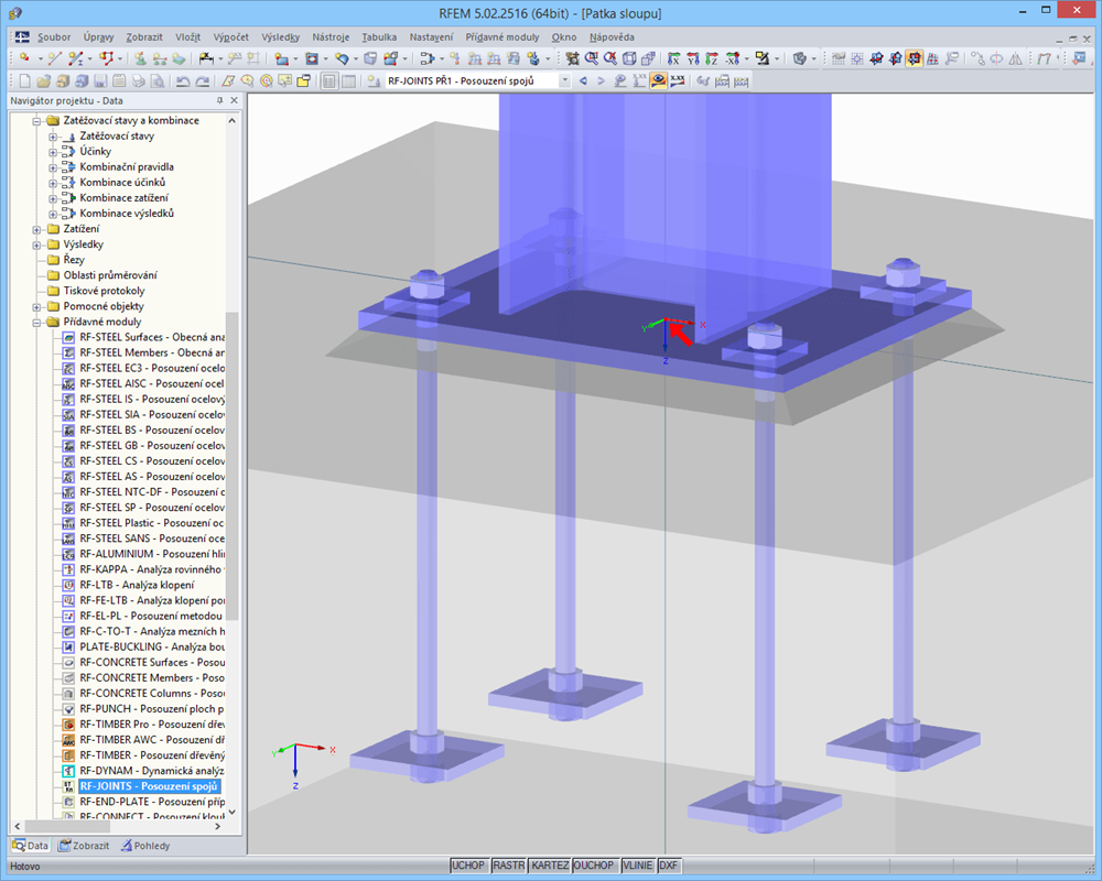 RF-JOINTS Steel - Column Base: vizualizace patky v programu RFEM
