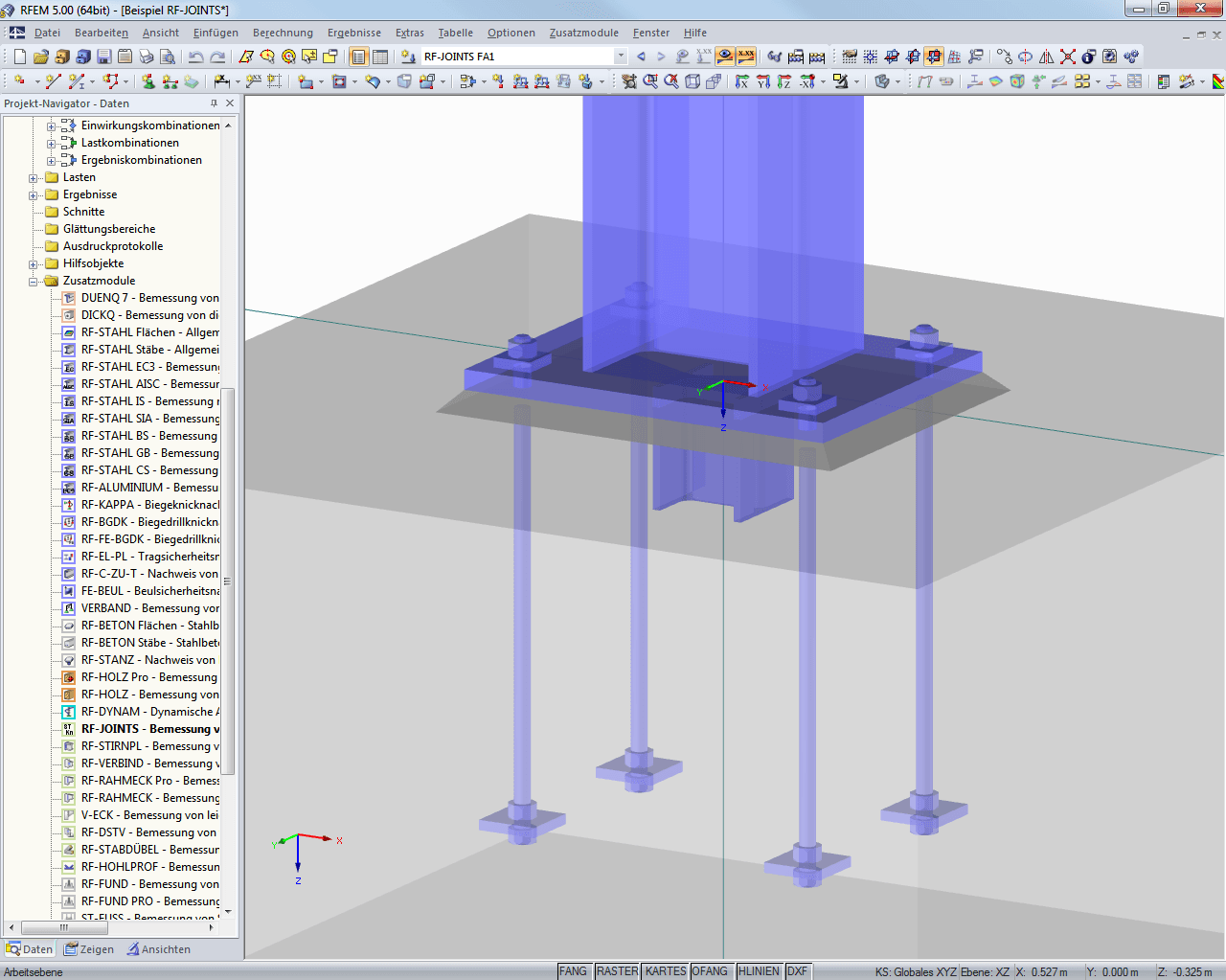RF-JOINTS Steel - Column Base: Visualização de sapata no RFEM