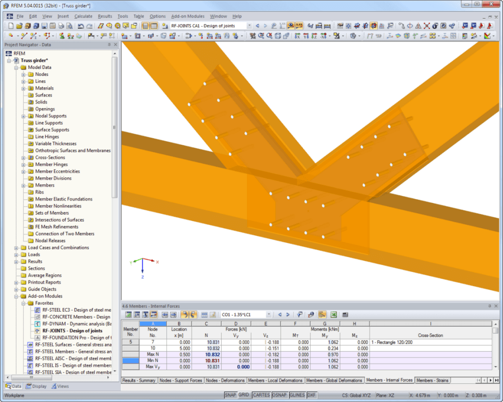 RF-JOINTS Timber - Steel to Timber: visualizzazione del giunto in RFEM