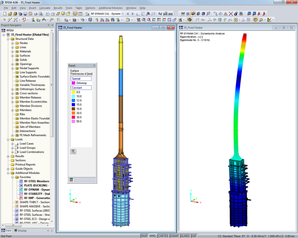 Ciminiera industriale | Progettato con RFEM da Peter & Partner, Much/Germania | www.ifs-peter-partner.de