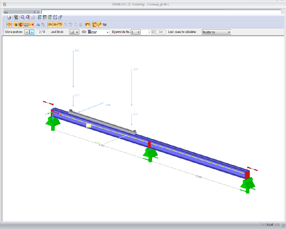 Suspension Crane in CRANEWAY Program by Dlubal Software