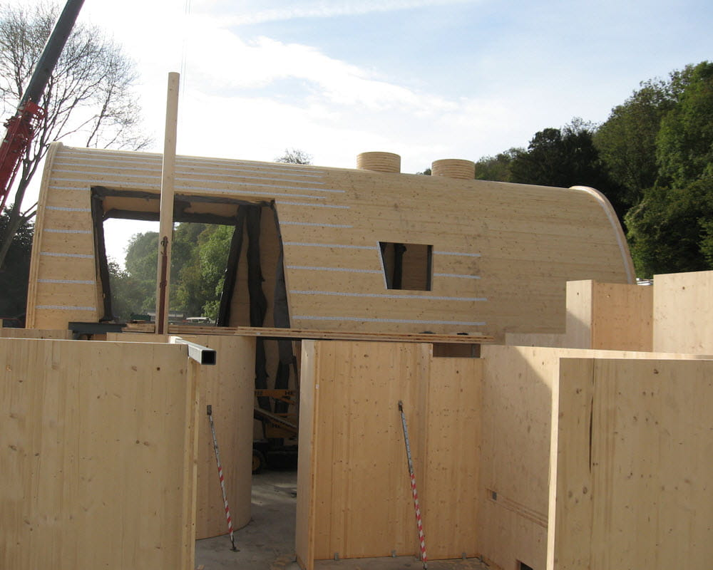Cross-laminated timber building for vineyard