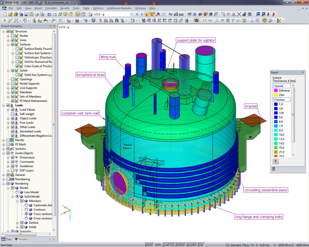 Dispositif de filtration industrielle | Réalisé avec RFEM par Peter & Partner, Much / Allemagne | www.ifs-peter-partner.de