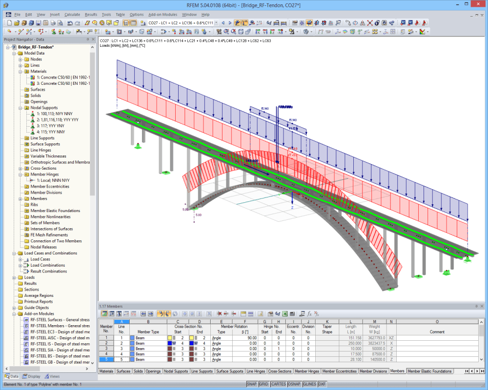 Arched bridge | Designed with RFEM by Jana Vlachova, a student of civil engineering at CTU Prague, Czech Republic