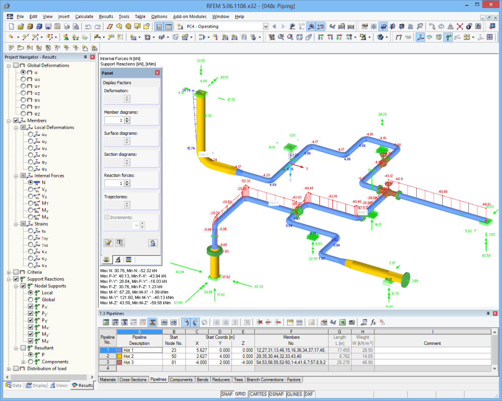 Internal forces of piping design in RFEM