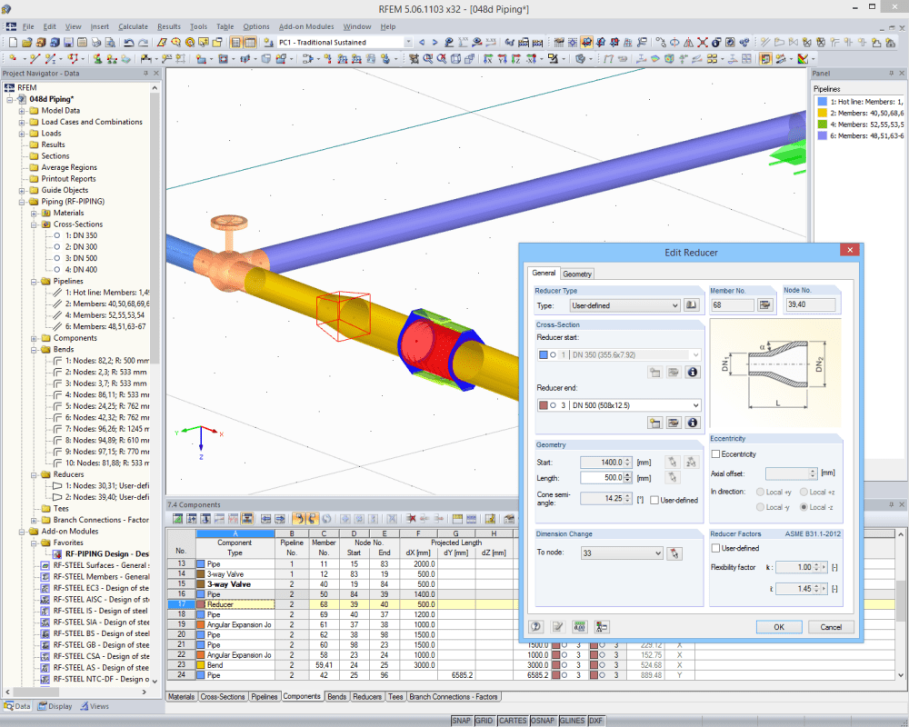 Pipe stress analysis software dlubal software editing reducer in rfem ccuart Choice Image