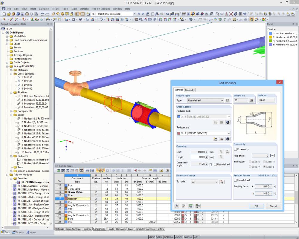 editing reducer in rfem - Piping Design Software Free