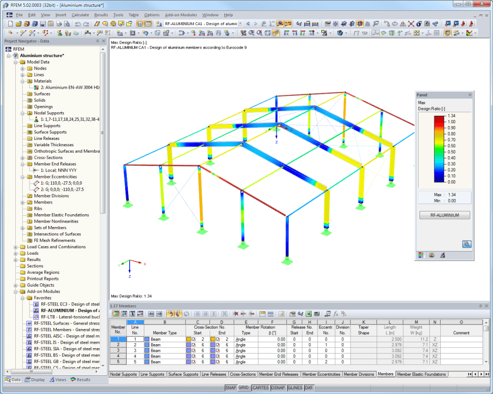 Aluminum hall structure in RFEM