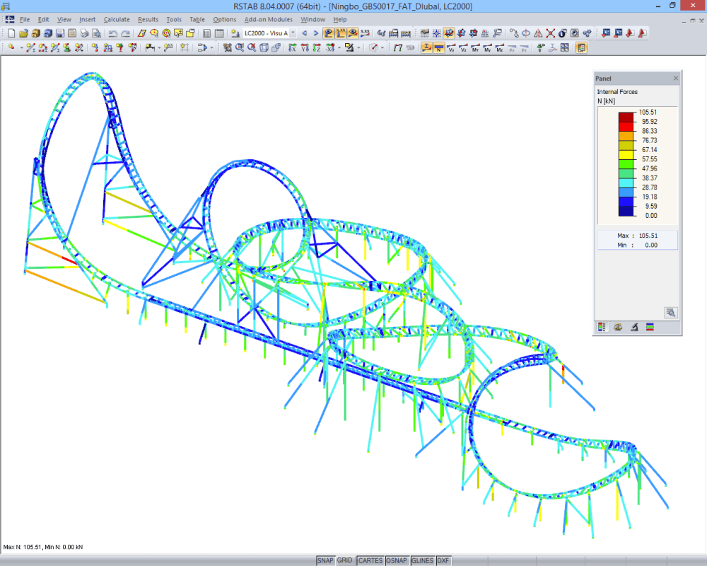 Dragon Flight, X-Train Flying Launch Coaster, Ningbo/China | Designed with RFEM by Maurer AG, Munich/Germany | www.maurer.eu