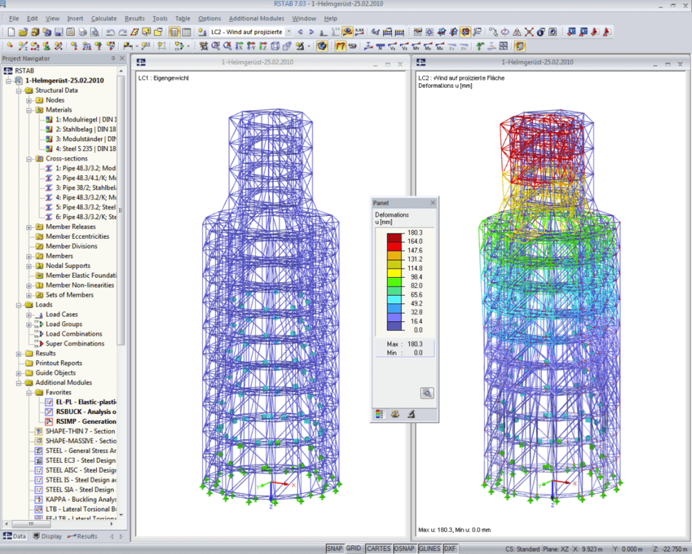 Scaffolding structure for steeple renovation in Kerpen, Germany | Designed with RFEM by IB Klimpel, Bochum/Germany | www.ib-klimpel.de