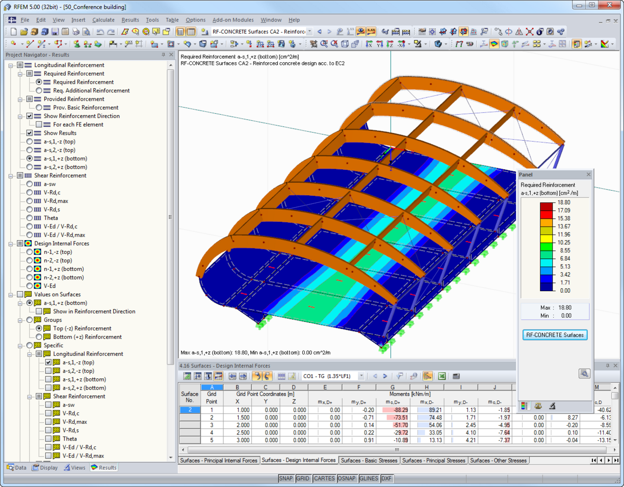 Reinforcement required according to Eurocode 2 in RFEM