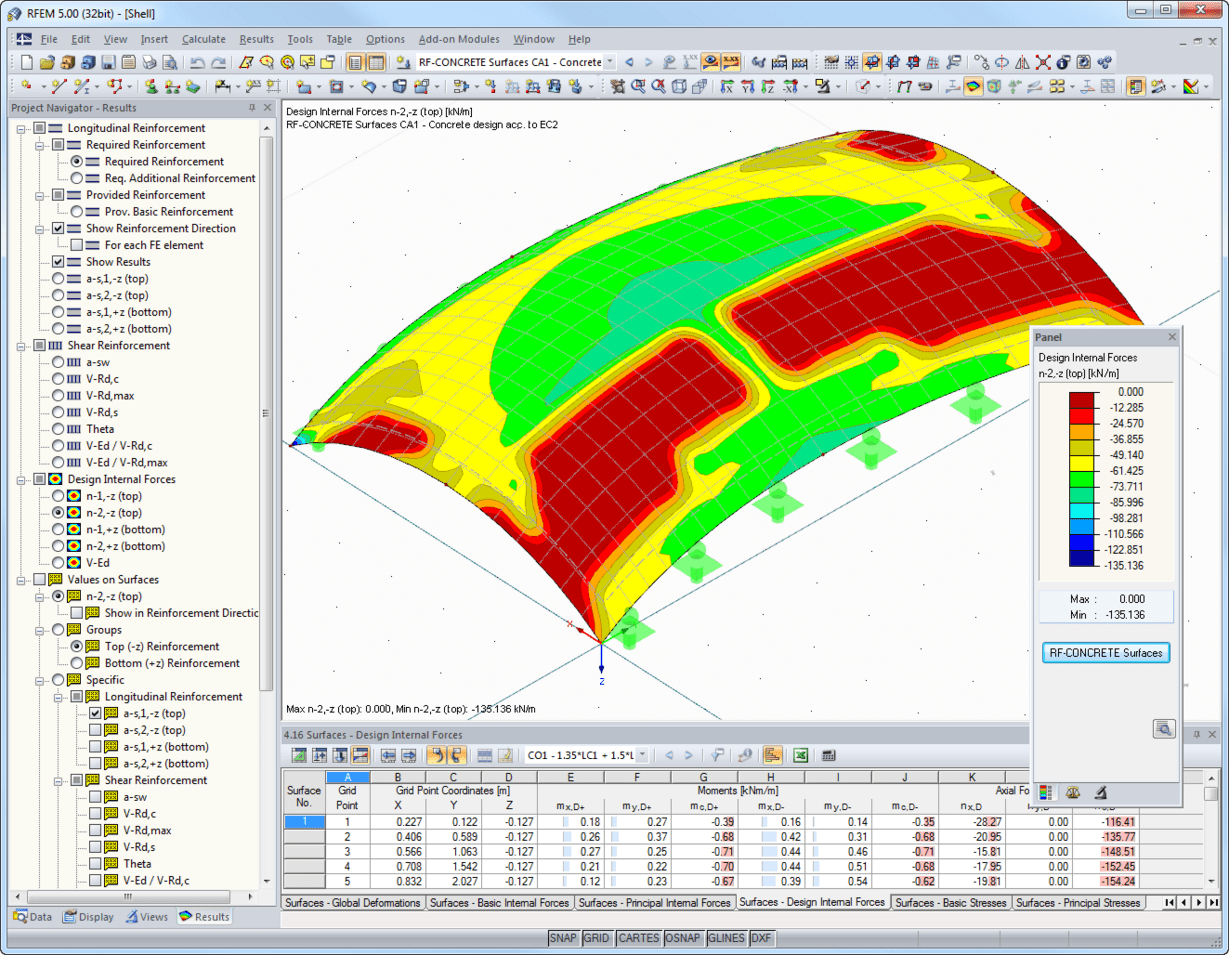 Design of double-curved reinforced concrete shell according to EC 2 in RFEM