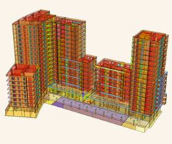 Structural engineering program RFEM | Residential high-rise buildings with shops and underground parking (Kraków, Poland)