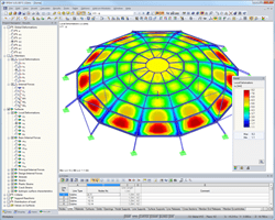 Deformations of glass dome in RFEM