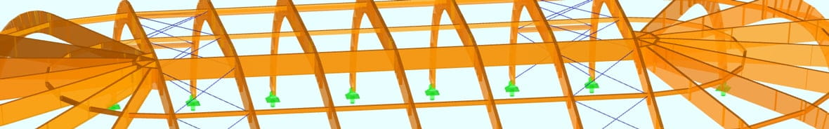 Structural Frame and Truss Analysis Software RSTAB | Model of Glulam Hall
