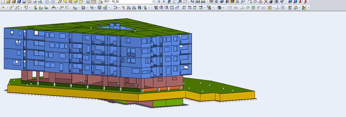 Structural analysis software RFEM - Model of a building | Wörgl Zentrum Lenk, Austria AGA-Bau-Planungs GmbH