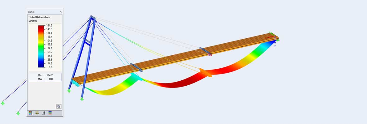 Pylon Bridge Across Loisach River | RFEM Model with Deformation | Ingenieurbüro Robert Buxbaum, Wolfratshausen (Germany)