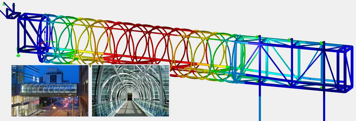Model with Visualized Deflection in Structural Frame Analysis Program RSTAB | Glass Pedestrian Bridge | St. Michael's Hospital, Toronto, Canada