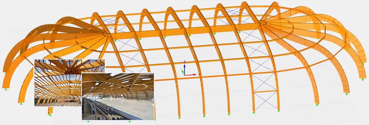 Analytical Model in Structural Beam Analysis Program RSTAB | Ice Hockey Stadium in Jicin, Czech Republic