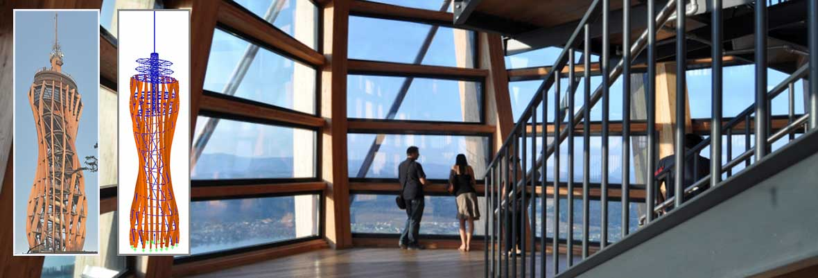 Structural Frame and Truss Analysis Software RSTAB | Lookout Tower at Pyramidenkogel, Wörthersee, Austria