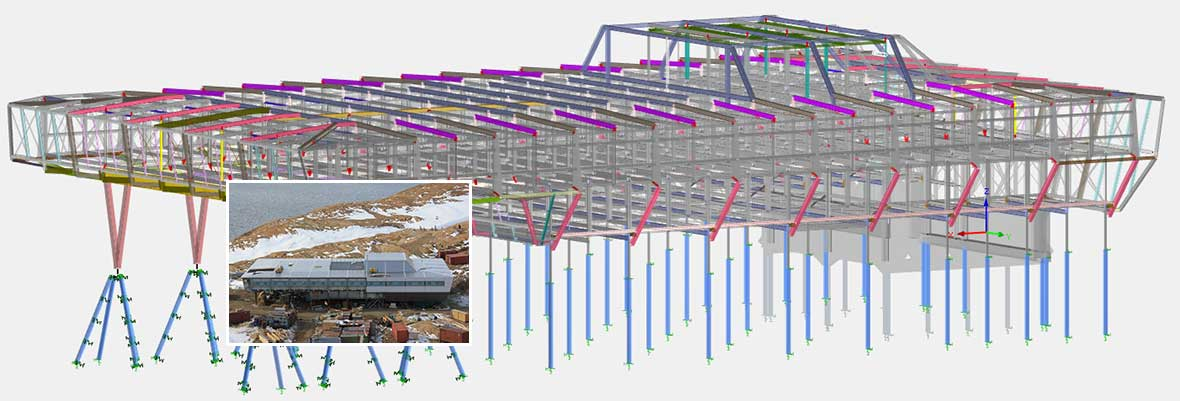 Structural Frame Analysis Program RSTAB | Indian Research Station Bharati in the Antarctic