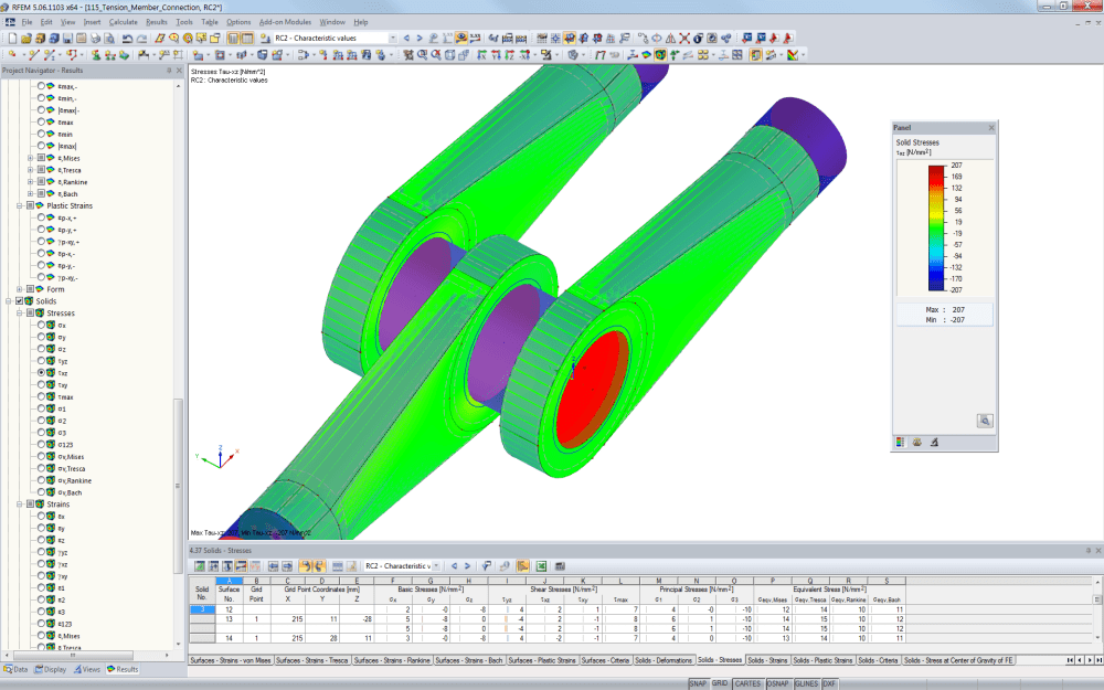Steel stress analysis of a tension member connection in RFEM