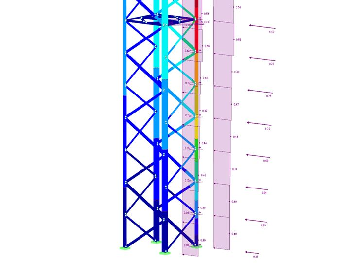 RFEM/RSTAB add-on module RF-/TOWER Loading | Generation of wind, ice and traffic loads for lattice towers
