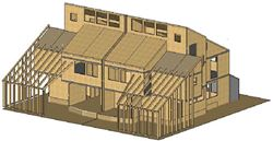 Structural engineering for a semi -detached house in solid timber construction