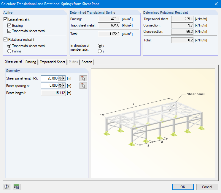 Calculate Translational and Rotational Springs from Shear Panel
