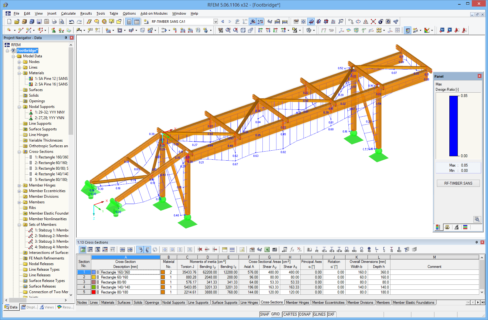 Graphical representation of RF-/TIMBER SANS design results in RFEM