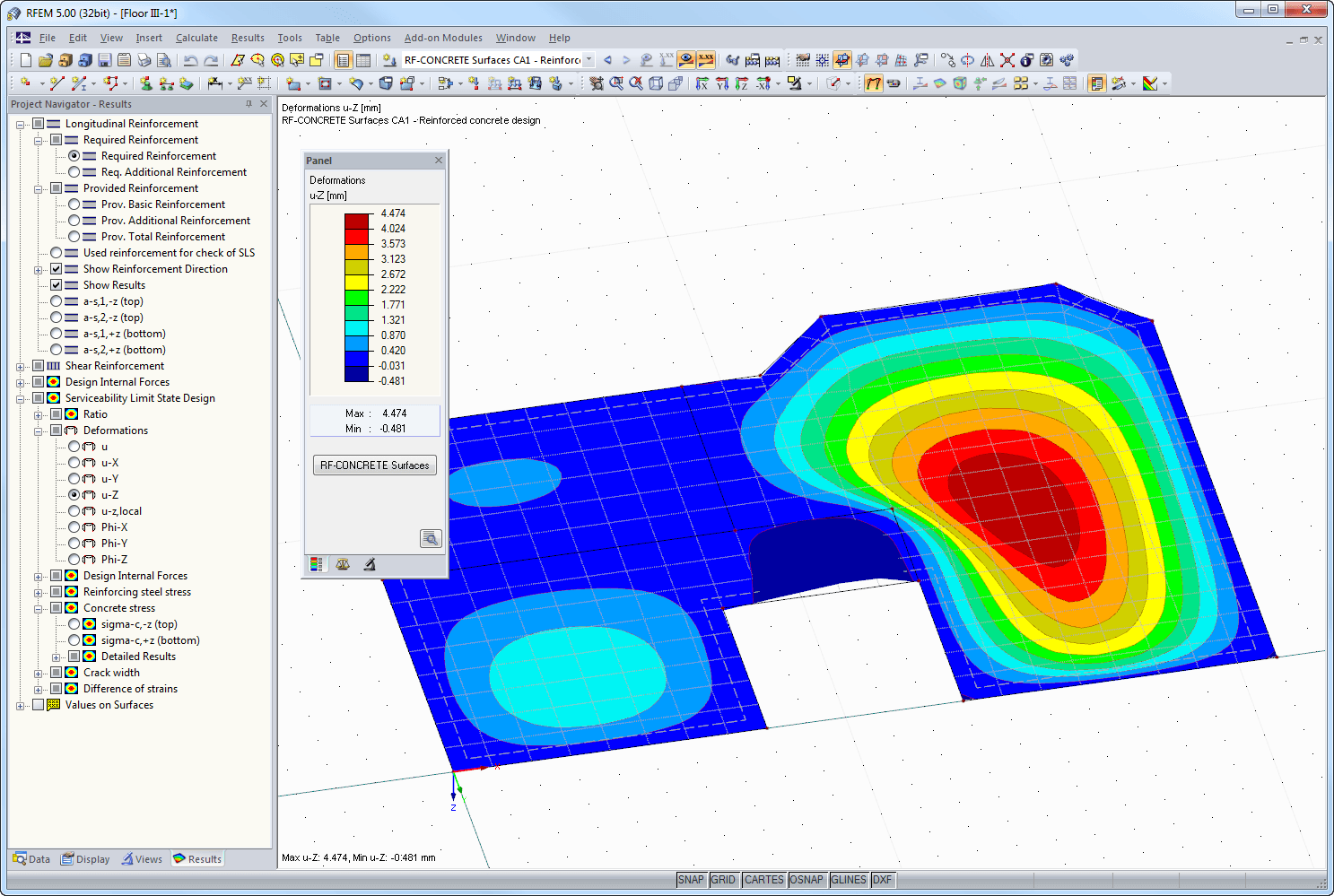 Deformation displayed in RFEM
