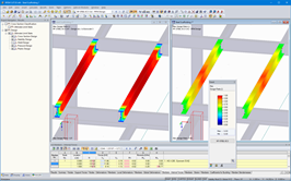 Steel design in RFEM without (left) and with (right) RF-STEEL Plasticity