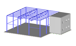 3D Steel Hall with Reinforced Concrete Extension