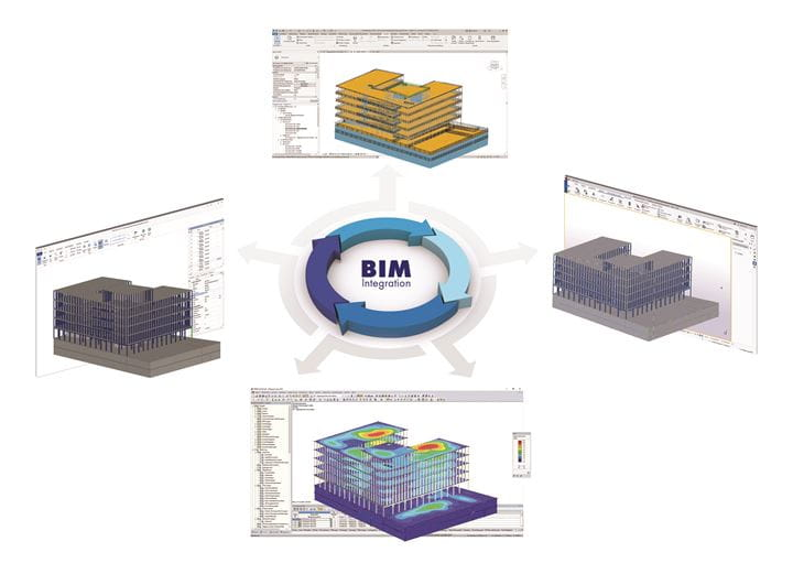 Building Model in Various BIM Applications and IFC Viewer as Well as Calculated Model in RFEM (Deformations, Bottom)