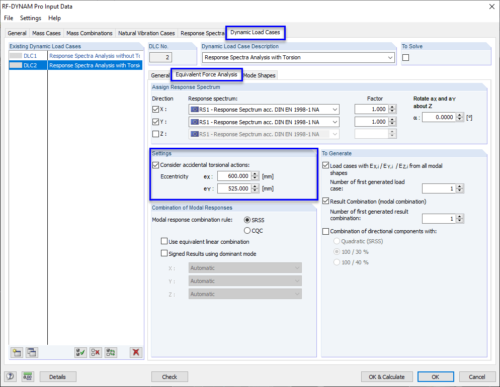 Activating accidental torsional actions in RF-/DYNAM Pro