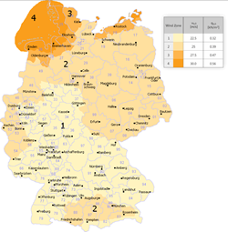 Wind zones of Germany