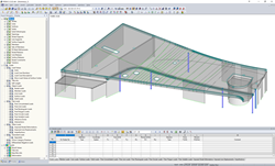 RFEM model with prestressed floor of a residential building