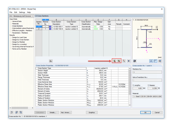 Import/export function for cross-sections in RF-/STEEL EC3