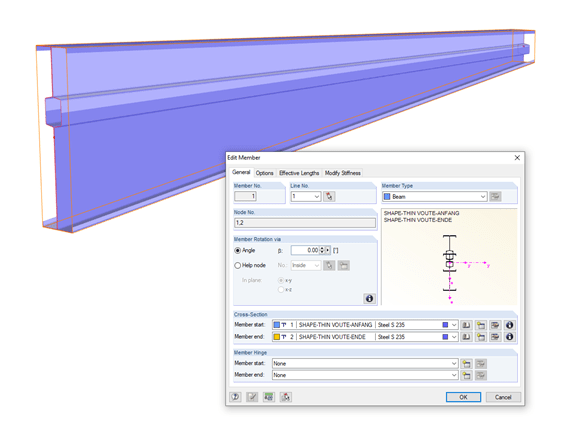 Editing Member with Variable SHAPE-THIN Cross-Section