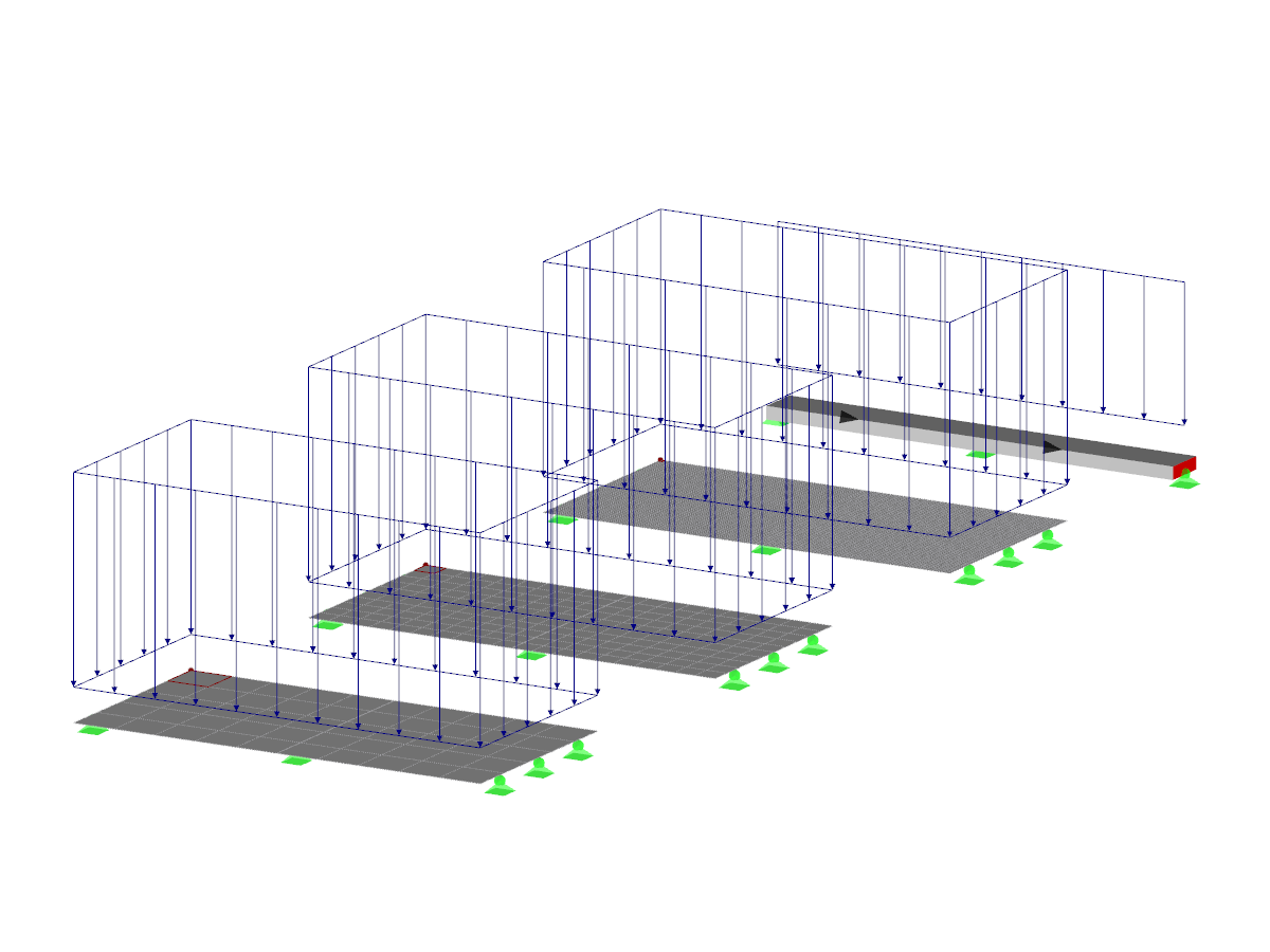 Example of continuous surface and continuous beam