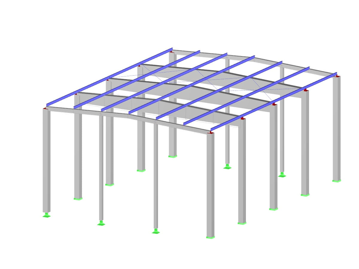 Reinforced concrete hall with steel purlins