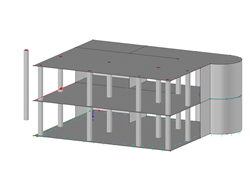 Concrete building with result beam