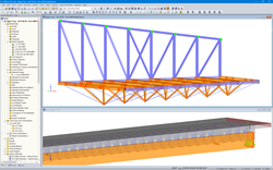3D models in RFEM: Zipper trusses with adjacent steel trusses (top) and timber-concrete composite section trusses with modeled steel connectors (bottom) (© Equilibrium Consulting Inc.)