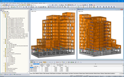 Different views of the residential building model in RFEM